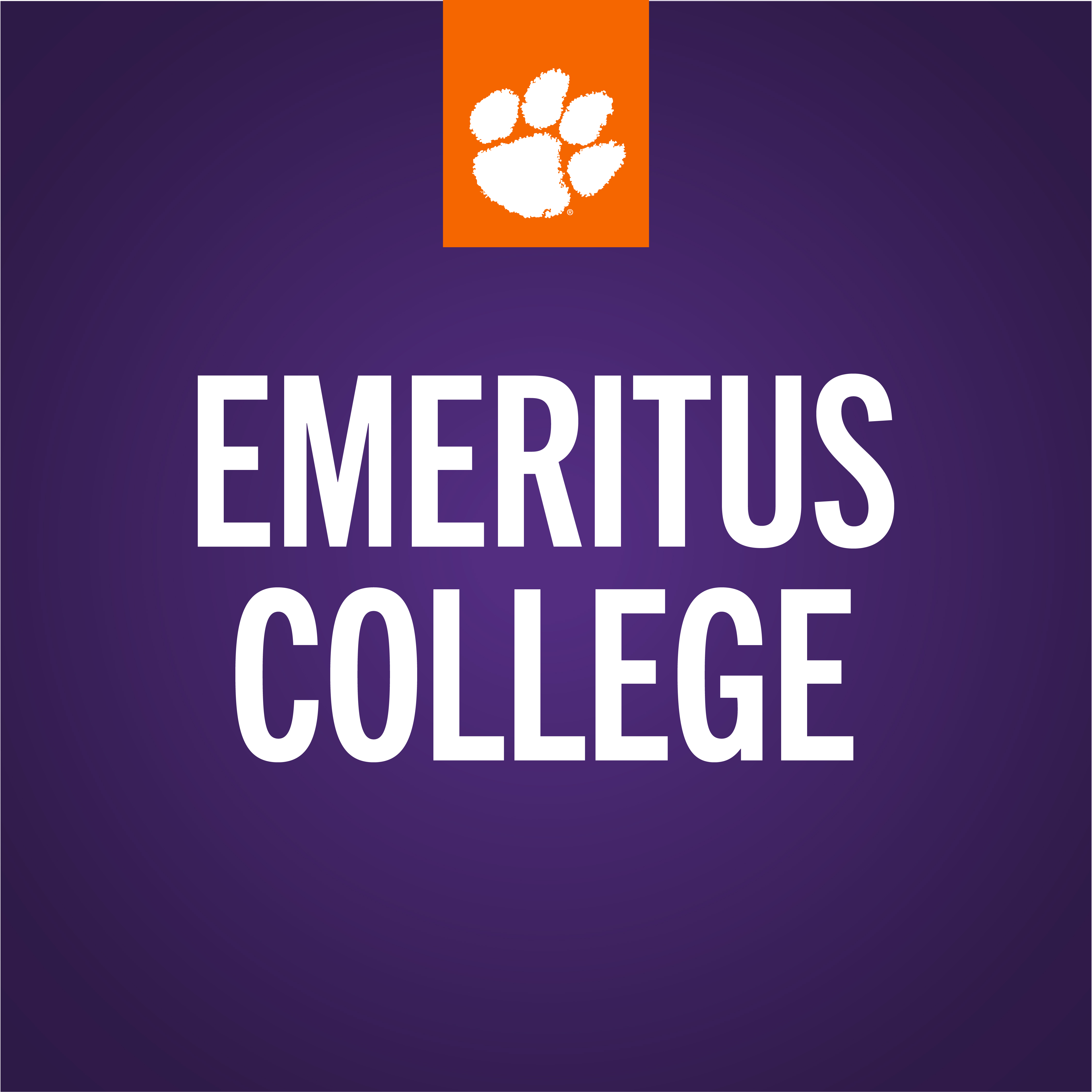 Emeritus College Logo in Purple Color Block with a Tiger Paw at the top